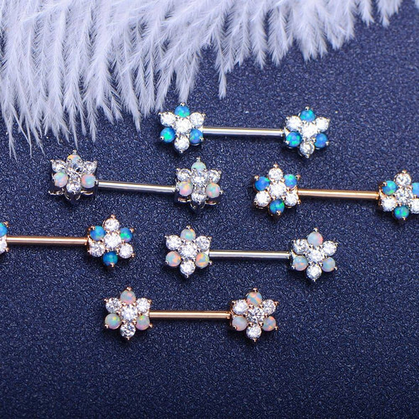14G Surgical Stainless Steel CZ & Opal Flower Nipple Rings - OUFER BODY JEWELRY
