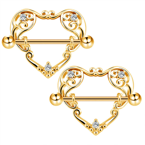 14G Heart Nipple Rings Nipple Barbells