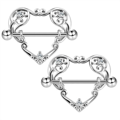 14G Heart Nipple Rings Nipple Barbells - OUFER BODY JEWELRY
