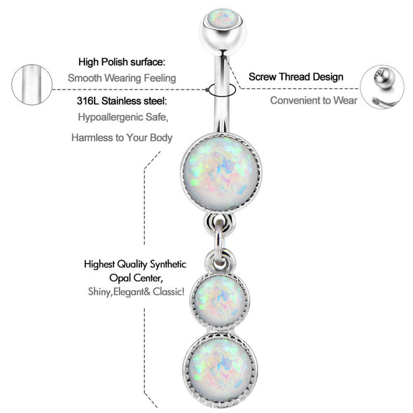 opal dangle belly button rings