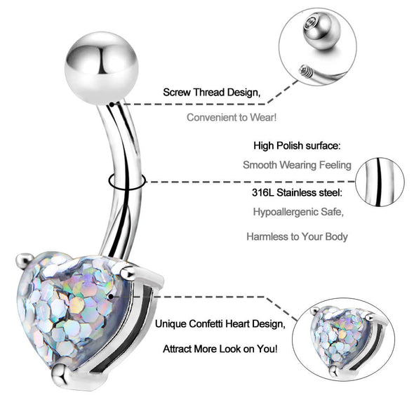 14G Unique Heart Confetti Diamond Belly Button Ring - OUFER BODY JEWELRY