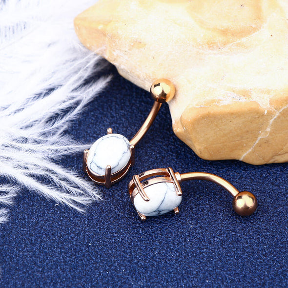 14G Rose Gold Plated White Marble Stone Belly Button Rings - OUFER BODY JEWELRY