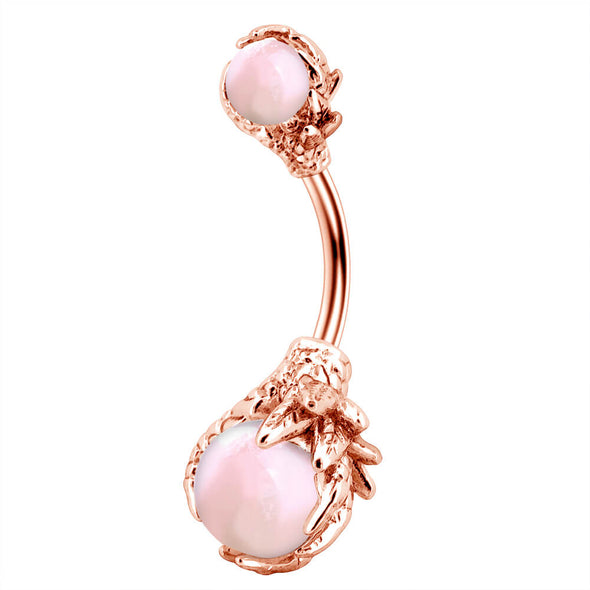 pink dragon claw belly ring