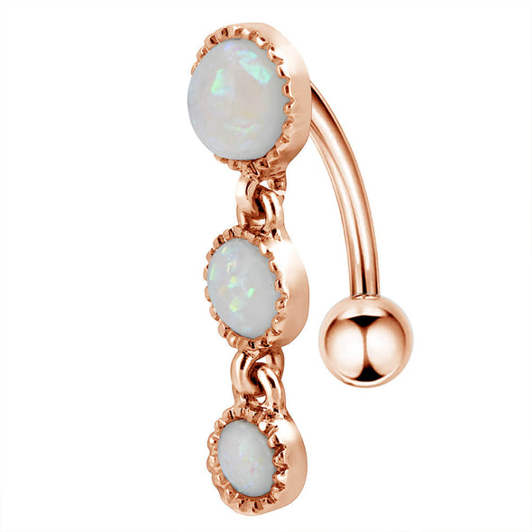 opal dangle reverse belly ring