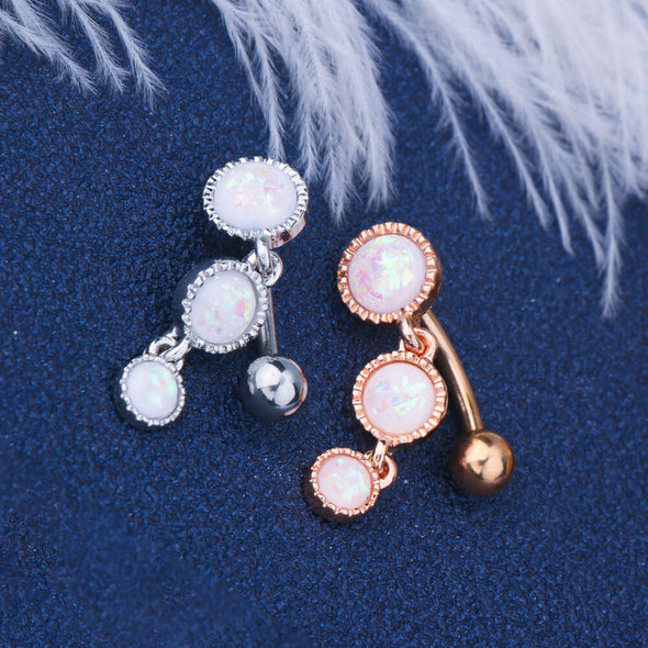 14G Triple Round Glitter White Opals Drop Reverse Belly Ring - OUFER BODY JEWELRY