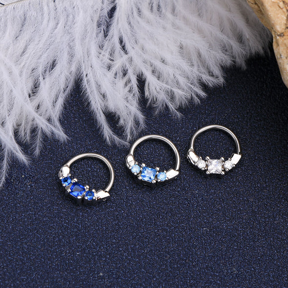 16G Square Blue CZ Septum Ring Conch Earring - OUFER BODY JEWELRY
