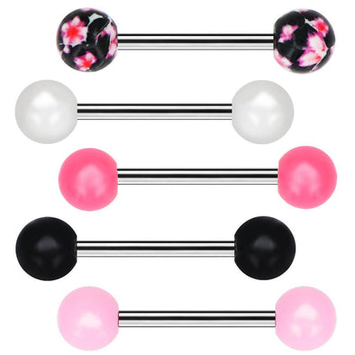 5 pcs Tongue Barbells Piercing Body Jewelry Tongue Rings