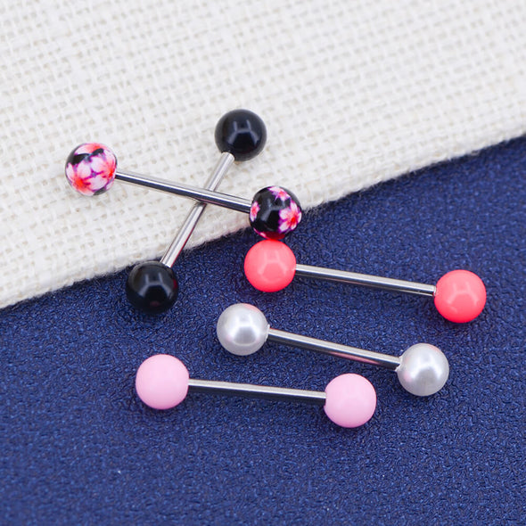 5Pcs 14G Sweet Style Acrylic and Steel Tongue Barbells Pack - OUFER BODY JEWELRY
