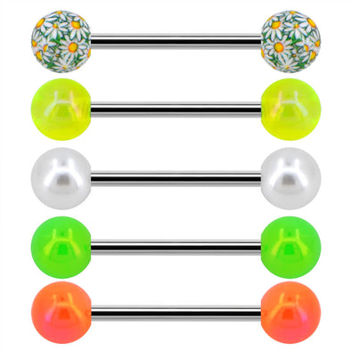 14G Yellow Green Flower Tongue Barbell Ring Pack - OUFER BODY JEWELRY