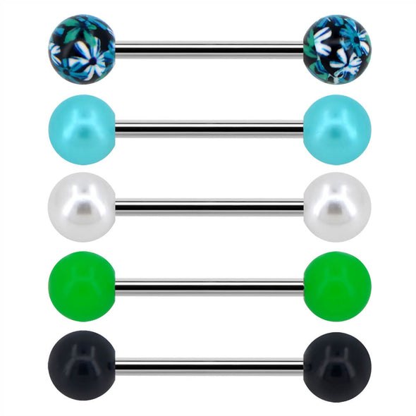 14G Black Green Flower Tongue Barbell Ring Pack - OUFER BODY JEWELRY