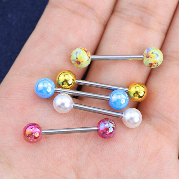 14G Gold Pink Flower Tongue Barbell Ring Pack - OUFER BODY JEWELRY