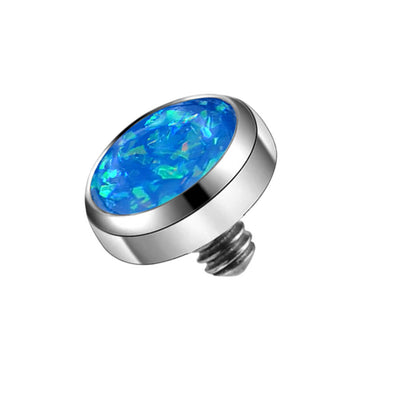 14 Gauge 4mm Synthetic Blue Opal Dermal Tops G23 Titanium Anchor Internally Threaded