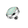 14G Synthetic White Opal diamond Eyebrow Dermal Jewelry - OUFER BODY JEWELRY