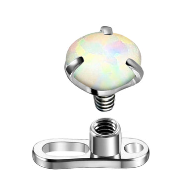 14G Dermal Tops G23 Solid Titanium 3mm Synthetic Opal Piercing Anchor Internally Threaded