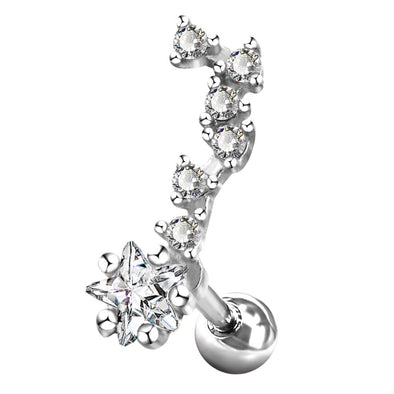 16G Star CZ Beads Cluster Helix Stud Earring - OUFER BODY JEWELRY