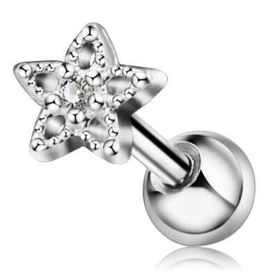 18 Gauge Star CZ and Beads Ball End Cartilage Stud - OUFER BODY JEWELRY