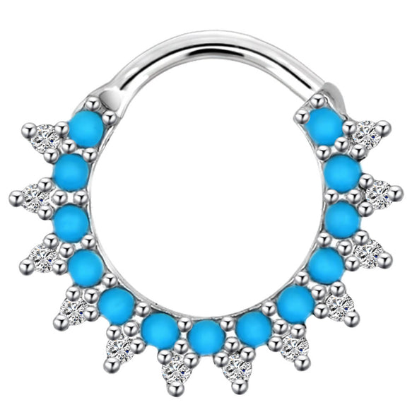 16G Blue Beads Hoop Septum Ring Daith Earring - OUFER BODY JEWELRY