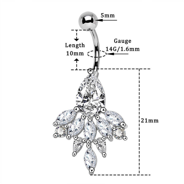 14G Clear CZ Gem Petal Pendant Dangle Belly Button Piercing