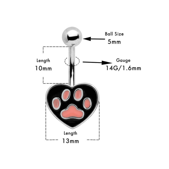 14g cat print belly button ring