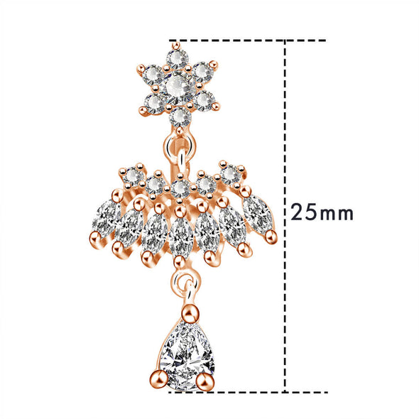 14g rose gold dangle belly button ring