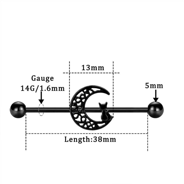 14G 38mm Black Cat and Moon Stainless Steel Industrial Barbell - OUFER BODY JEWELRY