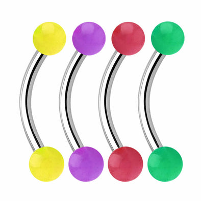 16G Candy Color Acrylic Ball End Steel Eyebrow Jewels Set of 4 - OUFER BODY JEWELRY