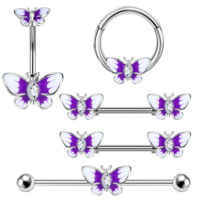 Purple Butterfly Body Piercing Jewelry Collection Set of 5 - OUFER BODY JEWELRY