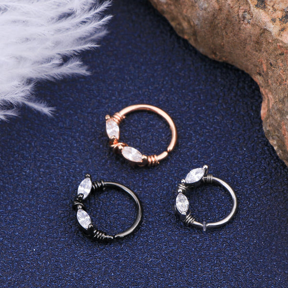 16G Oval Crystal CZ Seamless Septum Ring Cartilage Earring - OUFER BODY JEWELRY