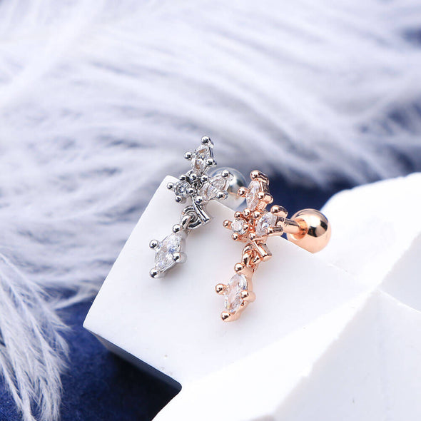 16G Clear CZ Dangle Dendriform Silver and Rose Gold Helix Studs