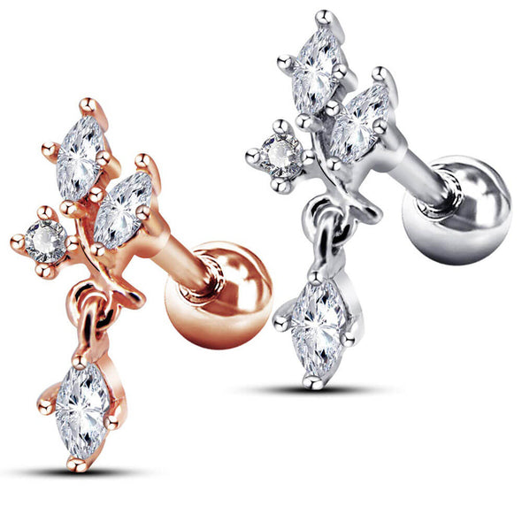 16G Clear CZ Dangle Dendriform Silver and Rose Gold Helix Studs - OUFER BODY JEWELRY