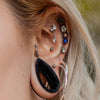 16G CZ Dangle Moon and Star Rose Gold Cartilage Stud