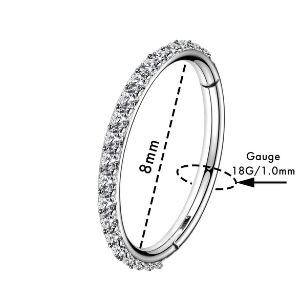 18G Surgical Steel Nose Hoop Ring with CZ Gem
