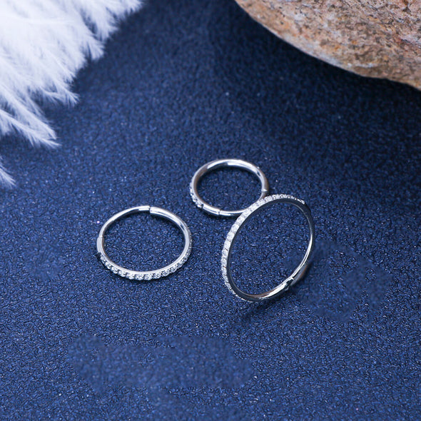 20G CZ Nose Ring Hinged Segment Hoop Ring - OUFER BODY JEWELRY