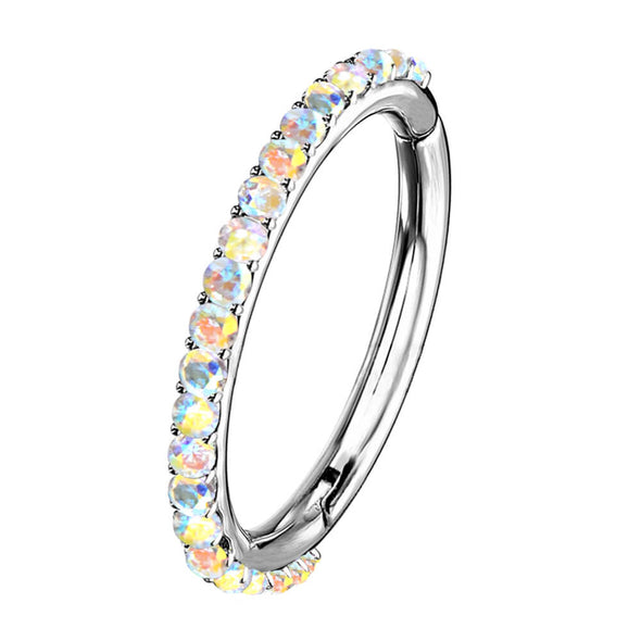 rainbow cz hinged segment hoop ring