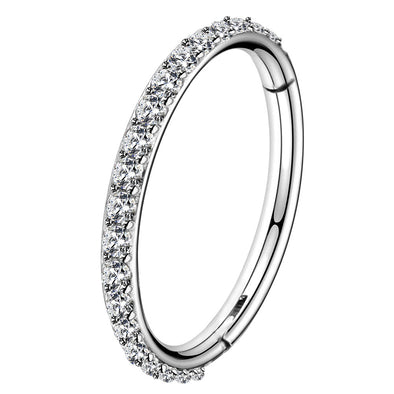 14G Surgical Steel Hinged Segment CZ Nose Hoop Ring - OUFER BODY JEWELRY