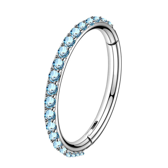 blue cz hinged segment hoop ring