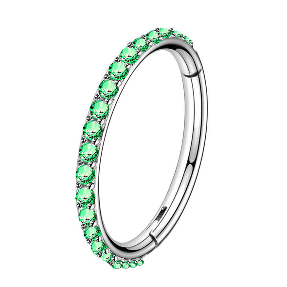 green cz hinged segment hoop  earring