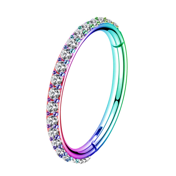 16G Colorful CZ Segment Nose Ring Cartilage Earrings - OUFER BODY JEWELRY
