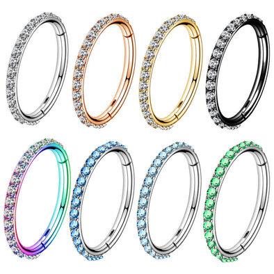 16G Nose Hoop Ring CZ Helix Earrings Piercings Clicker