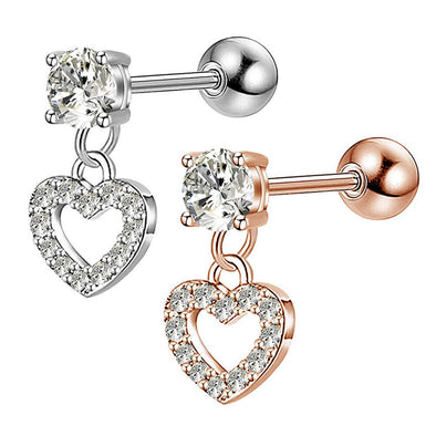 16G Heart Dangle Clear CZ Helix Stud - OUFER BODY JEWELRY