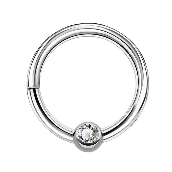 16G Clear CZ Hinged Segment Daith Septum Ring - OUFER BODY JEWELRY