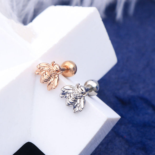 16G Silver and Rose Gold Honeybee Ball End Helix Stud