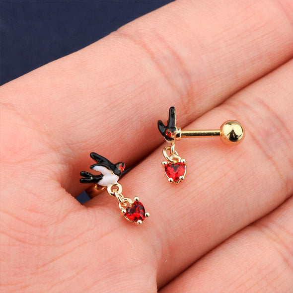 16G Swallow and Red Heart Cartilage Stud helix Earrings - OUFER BODY JEWELRY