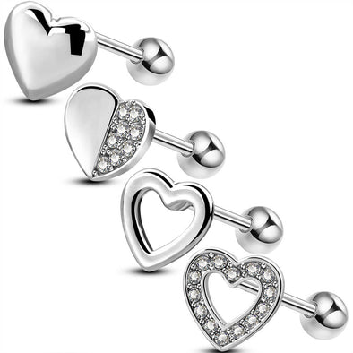 4PCS 16G Silver Heart Cartilage Set Earrings Studs - OUFER BODY JEWELRY