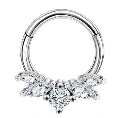 16G CZ Crown Daith Earring Septum Ring - OUFER BODY JEWELRY