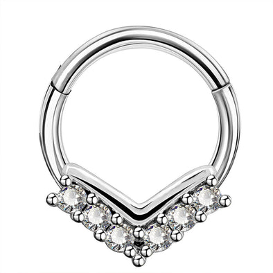 16G CZ V-Shape Hinged Segment Septum Ring - OUFER BODY JEWELRY