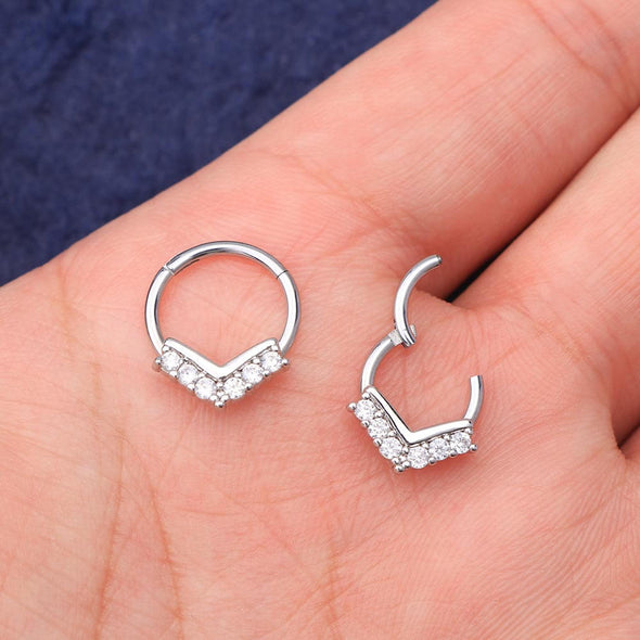 16G CZ V-Shape Hinged Segment Septum Ring