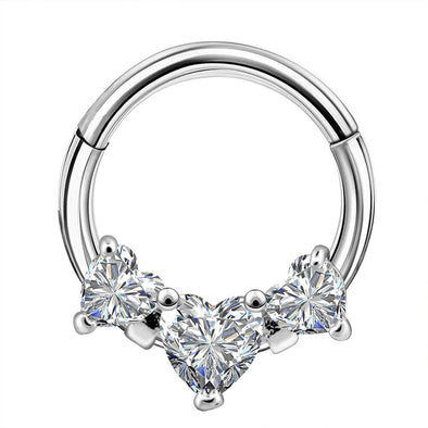 16G Three Heart CZ Cluster Daith and Septum Ring - OUFER BODY JEWELRY