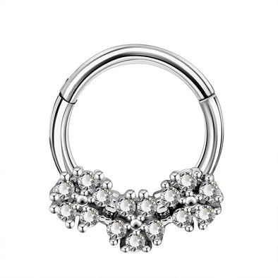 16G CZ Flower Cluster Hinged Segment Septum Ring - OUFER BODY JEWELRY