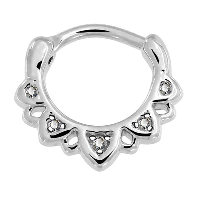 16G CZ Wave Dangle Stainless Steel Septum Clicker - OUFER BODY JEWELRY